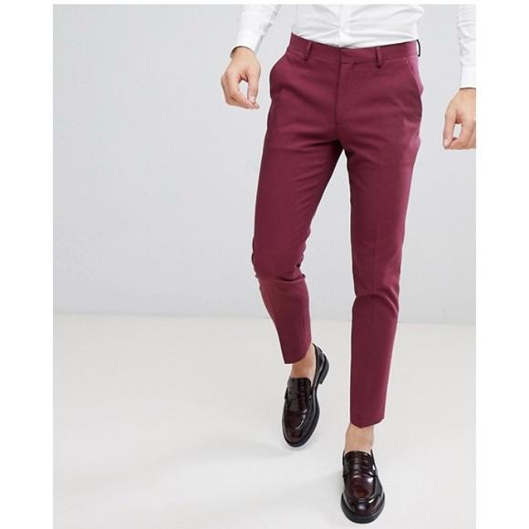254c3a0557832 ASOS Other - Asos Mens Skinny Chino Pants Size 34 Dark Pink